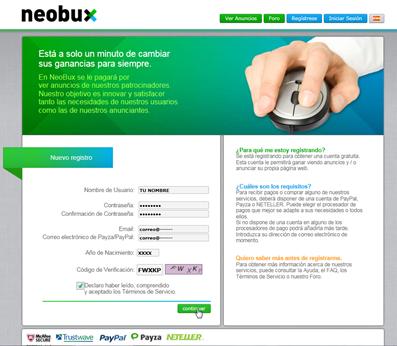 neobux ingresar datos